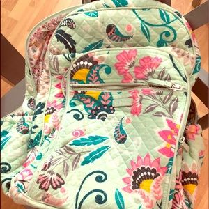 Vera Bradley Iconic Campus Backpack Mint Flowers